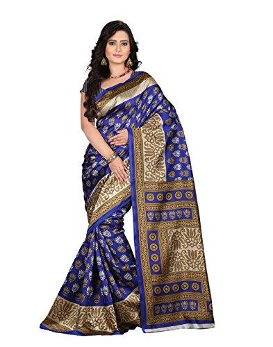 e-VASTRAM Women\'s Art Mysore Printed Silk(NS9A_Blue)