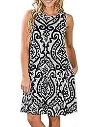 f4cd008f12fe Abravo Donna Casual Vestiti a Tracolla Sottile Estivo Bohemian Stampa Fiore Abiti  da Spiaggia Senza Maniche