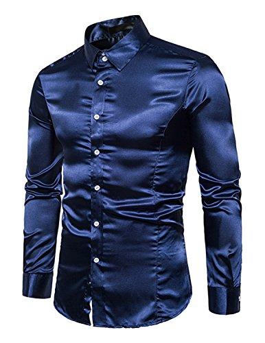 Boom fashion uomo camicie slim fit moda manica lunga camicia elegante tops,blu 1,m