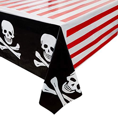 Piraten-Partyzubehör - 3 Stück Einweg-Tischdecken aus Kunststoff für Kinder, Geburtstagstischdekorationen in Rot, Weiß und Schwarz, 137,2 x 274,3 cm