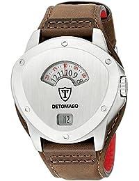 DeTomaso Compasso XXL Retro - Reloj de cuarzo para hombres, correa de cuero de color marrón, esfera plateada