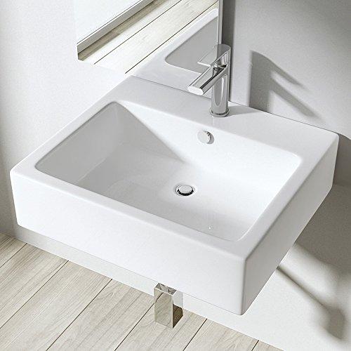 BTH: 53x46x14 cm Design Aufsatzwaschbecken / Hängewaschbecken Brüssel712, aus Keramik, Waschtisch, Waschbecken, Wandmontage