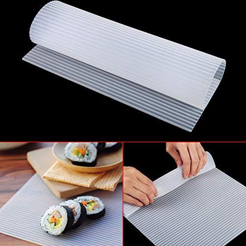 Mdurian Große Silikon Sushi Matte Rollmatte antihaftbeschichtet Swiss Roll Backblech für Anfänger Roll Sushi-matte