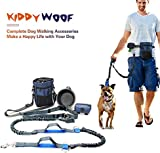 Dog Walking Accessories - KiddyWoof Hands Free Dog Leash for Up to 150 LBS Large dogs with Adjustable Waist Belt, Dog Treat Bag, Dog Poop Bag Holder, Collapsible Silicone Pet Bowl for Running Jogging or Walking