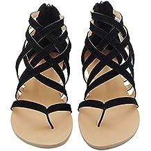Hibote Sandalias Mujer Bohemia Mujer Zapatos Bajos Sandalias De Cuero De Gladiador Sandalias De Piel Zapatos De Planas Zapatos De Playa Calzado