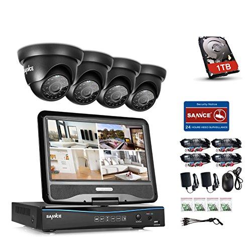 Preisvergleich Produktbild SANNCE Videoüberwachung Überwachungskamera 10 Zoll Display 8CH 720P DVR Recorder Überwachungssystem mit 4 Dome Kameras 720P für innen und außen Bereich mit eingebaute 1TB Festplatte