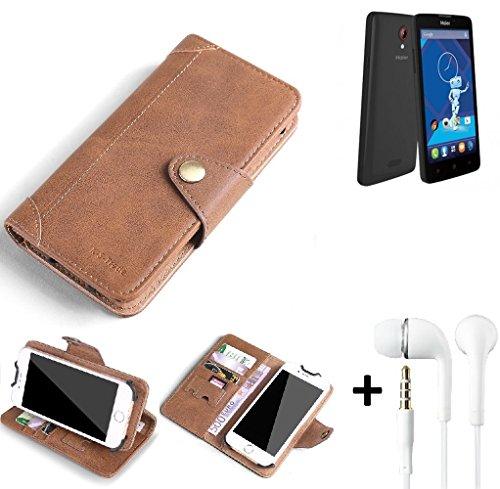 K-S-Trade® Schutzhülle für Haier Phone L52 Hülle Tasche Handyhülle Handytasche Wallet Flipcase Cover Handy Tasche Kunsteleder Braun Inkl. in Ear Headphones
