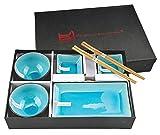 Tokyo Design Studio, Glassy Turquoise, Set mit 2 Teller + 2 Sauce Schalen + 2 Reis Schalen+ 2 Essstäbchen, 8-tlg., Porzellan