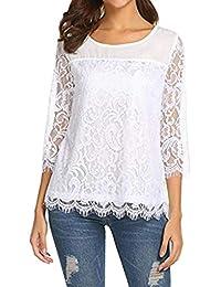 5ef84592e658 Amazon.it  Maglie In Pizzo - Bluse e camicie   T-shirt