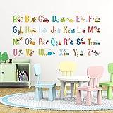 Decowall DA-1701 Großbuchstaben-ABC mit Bildern , Kinder-Wandaufkleber , Wandtattoos , Abziehen und aufkleben, entfernbare Wandaufkleber für Kinder , für Kinderzimmer, Schlafzimmer, Wohnzimmer (mittel, groß), mehrfarbig, Large