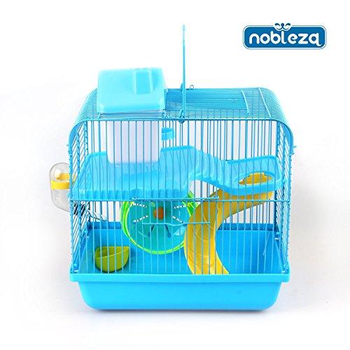 nobleza-021406-jaula-para-roedores-color-azul-con-tobogan-y-una-rueda-medidas-largo-28-cm-x-ancho-21