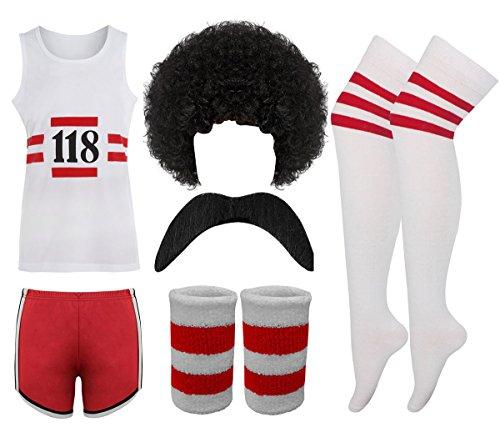 118 Damen-Kostüm, Marathon-Retro-Weste, Strumpfhosen, Tash-Socken, Perücke, S+W+M+WB+Socken, UK10