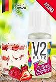 V2 Vape Erdbeer-Joghurt AROMA/KONZENTRAT hochdosiertes Premium Lebensmittel-Aroma zum selber mischen von E-Liquid/Liquid-Base für E-Zigarette und E-Shisha 30ml 0mg nikotinfrei