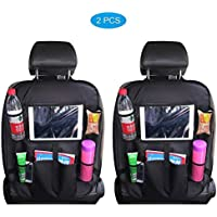 W-top 2 PCS Organizadores para Asientos de coches con Multi-bolsillo, asiento trasero Cubiertas para coches con sostenedor de tablet-bolsillo de pantalla táctil, protector trasero del asiento de coche