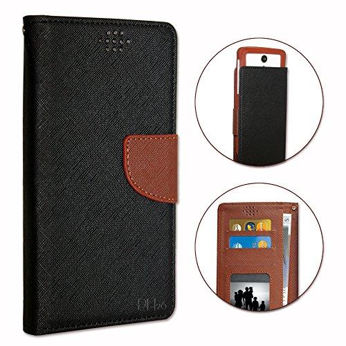 Danew Konnect 501 Etui Housse folio noir et marron façon cuir texturé avec porte cartes et surpiqûres apparentes by PH26®