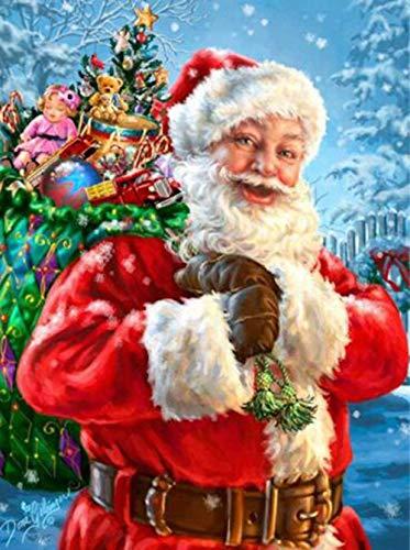 Sunnay Diamond Painting, Weihnachten Schloss Diamantbild Kreuzstich Weihnachtsmann Strass Stickere 5D DIY Diamant Malerei Stickerei Full Drill Crystal Bilder Kreuzstich Home Kit (Santa Claus, 30*40cm)