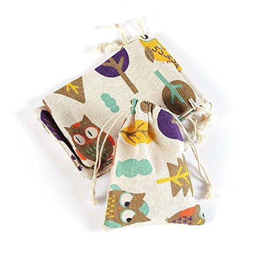 (Yalulu 20 Stück Natur Jutesäckchen Leinen-Säckchen Geschenk Tasche für Lavendelblüten, Jutebeutel, Stoffbeutel, Natur Säckchen, Geschenksäckchen, Sack, Beutel, Farbe Hellbraun,10cm*14cm (Eule))
