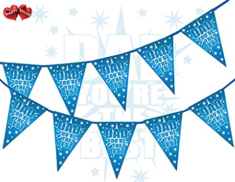 Dad You're The Best Happy Fathers Day Starburst Shooting Star Blue Themed Bunting Banner 15 flags for guaranteed simply stylish party decoration by PARTY