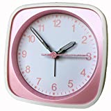 Eurotime  Kinder Wecker für Mädchen mit Glitter-Sekundenzeiger, Kunststoffgehäuse und Kunststoffglas, geräuscharmer Wecker, kein Ticken, 27020-22
