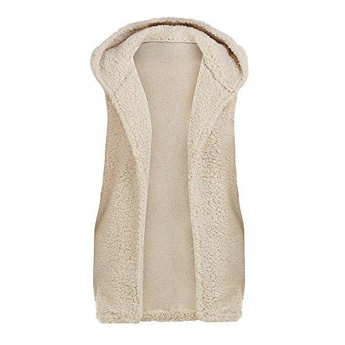 iHENGH Damen Warm Vest,Women Winter Hoodie Outwear LäSsigen Mantel Faux Fur Zip Up Sherpa Jacke Strickjacke ()