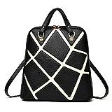 Damen PU Lederrucksack Mode PU Leder Rucksack Cityrucksack Stadtrucksack Damen Tasche Daypack mit Flickwerk von PU Leder für Mädchen