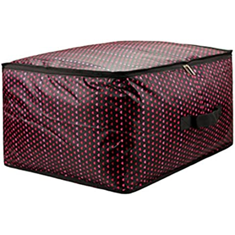 Moolecole Corazón Rojo Casa Acolchar Ropa Bolsa Ahorradoras De Espacio Estuche De Cremallera Tela De Oxford Almohada Manta Caja Contenedora 53*37*30cm