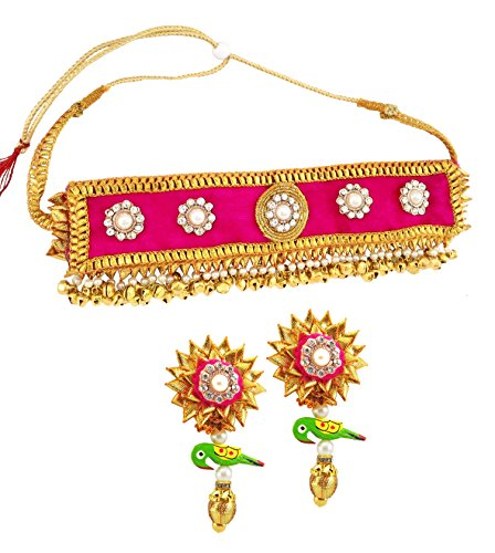 BLENT Traditional Beautiful Pink Gota Jewellery Parrot Earrings (1 Pair) and Pink Velvet Choker for Women/Girls