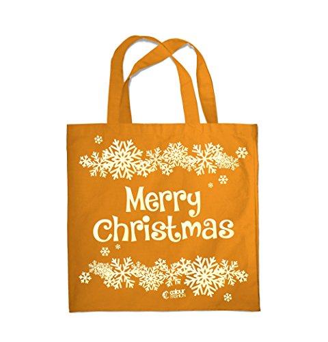 COLOUR FASHION MERRY CHRISTMAS FIOCCO DI NEVE Spesa Spiaggia Palestra Borsa di stoffa 0086 Arancione