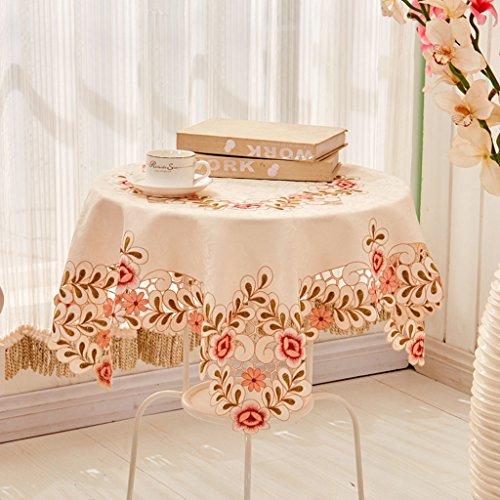 Nappes Tissu Table Tissu Carré Brodé Européenne Nappe Couverture Serviette Table Basse Tissu Rose Modèles ( taille : 125*125cm )