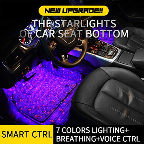 Preisvergleich Produktbild Qeedio Autoinnenbeleuchtung Auto LED-Lichtstreifen 7 Farben Musik-Beleuchtungs-Kit Atmosphäre Lampen LED-Funkfernbedienung Unter Armaturenbrettbeleuchtung