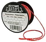 DIYer® - Premium Maurerschnur Mehrzweckseil Richtschnur Schnur - 1,7mm - 50m - ca. 45kg (daN) - Polypropylen - Farbe rot/weiß - Made in AT