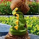 HuntGold 1X Green Pet Dog Puppy Cat Dinosaur Clothes Apparel Fancy Outfit Hoodie Coat(Size: M)