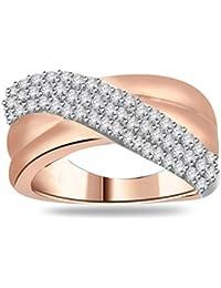 Silvernshine 1.05Ct Round Cut Sim Diamond Women's Crossover Engagement Ring 14K White Gold PL