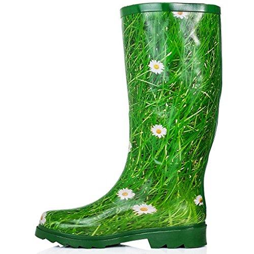 SPYLOVEBUY ANTONIA Gummistiefel Regenstiefel Flach Grasgrün