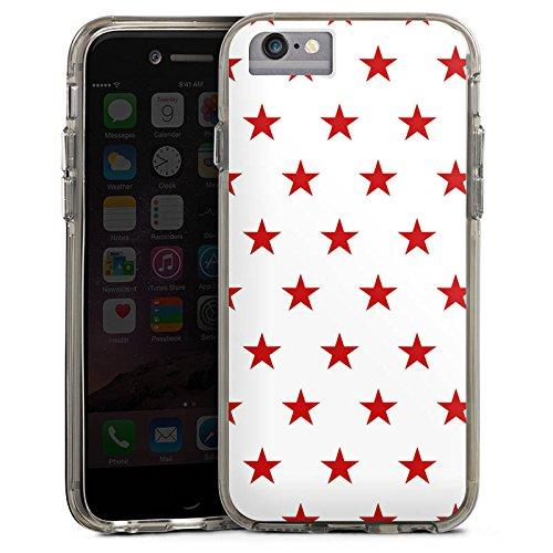 Apple iPhone 6 Plus Bumper Hülle Bumper Case Glitzer Hülle Star Stern Pattern Bumper Case transparent grau