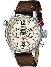 Ingersoll Unisex Automatik Uhr mit weißem Zifferblatt Analog-Anzeige und braunem Lederband in3225cr