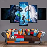mmwin Abastract Home Decoative Living Room 5 Piezas HD Print Painting Cómo Entrenar a tu dragón Modern Wall Art Type Poster