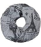 Caripe Loop-Schal Städte-Print Paris London New York Berlin Schlauchschal Damen Herren Halstuch Mode-Accessoire Geschenk – sh2 (Paris - France - dunkelgrau)