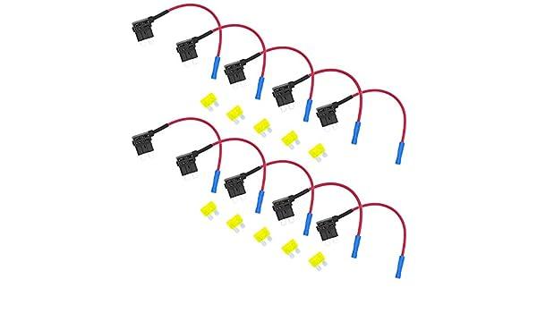 10er Flachsicherungsadapter Autosicherungen Stecksicherung Steck Sicherung Verteiler Anschlu/ßkabel