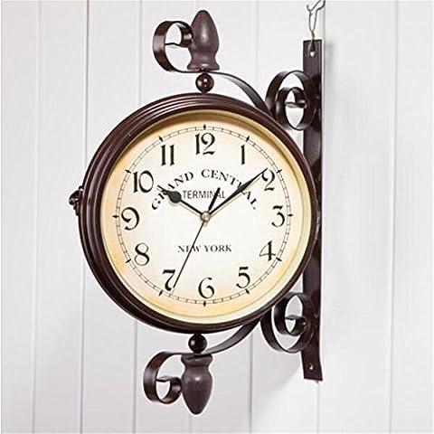 ZWZT Double Sided Clocks Antique European-style Garden Station Clock Outdoor Wall Clock
