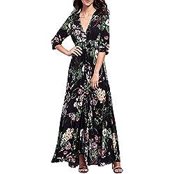 Amlaiworld Vestido Largo Mujer Boho Vestido de Noche Maxi Playa Sundress (Tamaño Asiático: L