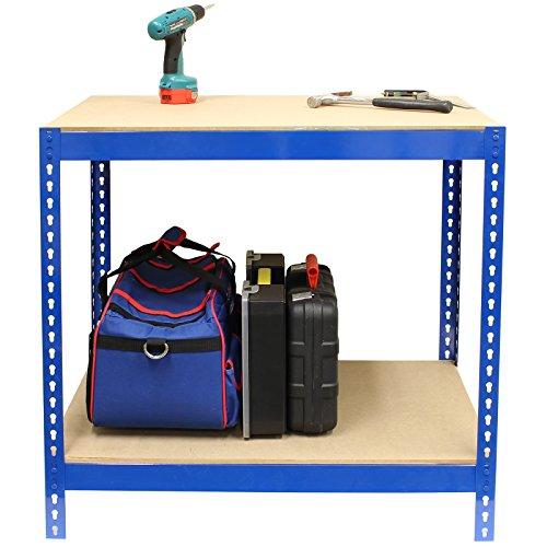Hardcastle Blaue Stahl-Werkbank mit 2 Ebenen - in der Größe 90cm oder 150cm (Werkbank Tisch)