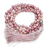 QGEM 108 Perlen Edelstein Yoga Armband Wickelarmabnd Chakra Buddha Buddhistische Tibetische Gebetskette Healing Reiki Mala Kette Halskette (Eine Farbe-Rhodochrosit)