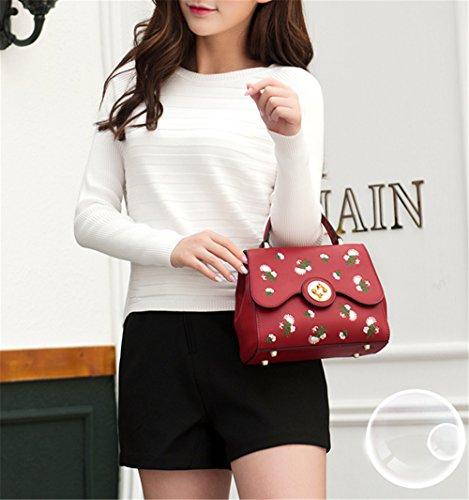 XinMaoYuan Frische Stickerei Lock Beutel Wild Schulter Messenger Bag Handtaschen Pu-Querschnitt kleine Quadratische Tasche, Schwarz Rot
