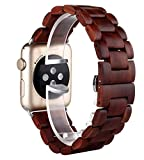 Sumgar Natur Holz Replacement Wrist Band mit Adapter Uhrenarmband für Apple iWatch Alle Modelle...