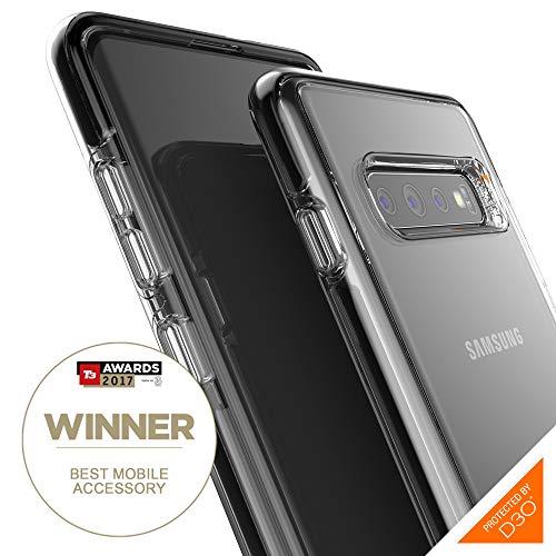 Gear4 Piccadilly transparente Handyhülle mit verbessertem Stoßschutz [D3O-geschützt], schlankes, robustes Design Kompatibel Mit Samsung Galaxy S10 Plus - Schwarz -