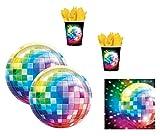 48-teiliges Party-Set Disco Fever 70´s - Teller Becher Servietten mit Discokugel für 16 Personen