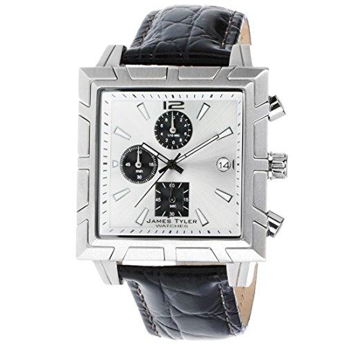 James Tyler Herren-Armbanduhr, Quarz Chronograph, Quadratisch Edelstahl gebürstet JT710-3