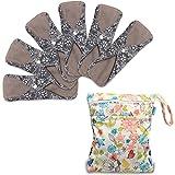 Teamoy Serviettes Hygiéniques de 6 Pièces, Lavable/Réutilisables, Avec un sac organisateur, (Medium-25.4cm/10 Inch, Flowers)