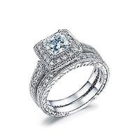NewBox Elegant Princess Cut CZ Diamond 18ct White Gold Plated Wedding Rings Bridal Set, Size X